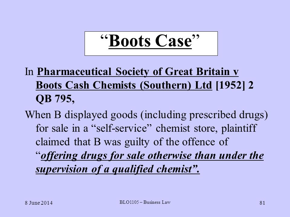 Boots Case In Pharmaceutical Society of Great Britain v Boots Cash Chemists (Southern) Ltd [1952] 2 QB 795,